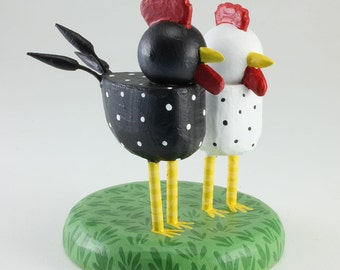 Chicken and Rooster Wedding Cake Topper