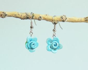 Rose Floral Earrings - 4DD - Bright Sky Blue - Polymer Clay - (DAYSTAR) Katherine Kowalski jewelry