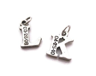 Add a letter sterling silver hand stamped letter charm