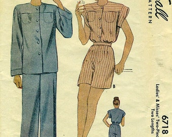 McCall 6718 PAJAMAS Trousers or Shorts with Big Shirt circa 1940s