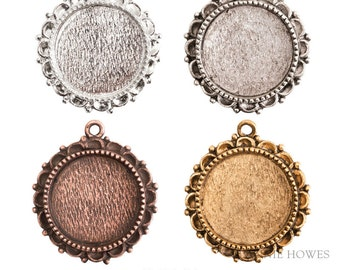 Ornate Circle Pendant Tray in Silver, Antique Silver, Antique Gold, or Antique Copper. Choose your color. 20mm. OLPCS-SB