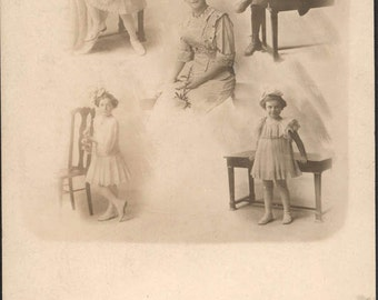 vintage photo 1910 Trick Photo 5 Images Mom Center Children RPPC George Dreaney