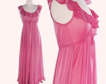 Vintage 70s Nightgown / Fuchsia Nightgown / Ruffle Nightgown / John Kloss for Cira