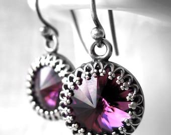 Amethyst Crystal Earrings, Purple Swarovski Rivoli Crystal Earrings, Antiqued Silver Crown Bezel, Bridesmaid Jewelry, February Birthstone