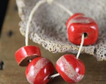 Handmade stoneware beads Cherry Red (5)