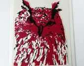 Screenprint  Owl Card