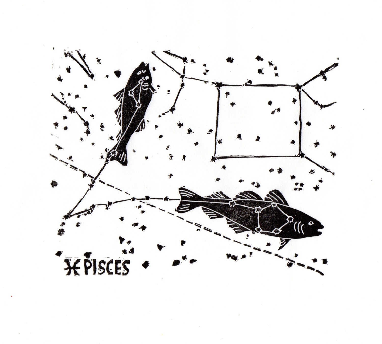 Pisces Constellation Linocut in Black and White