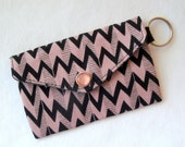 Mauve ZigZag Mini Pouch - Snap Card Carrier with Keyring
