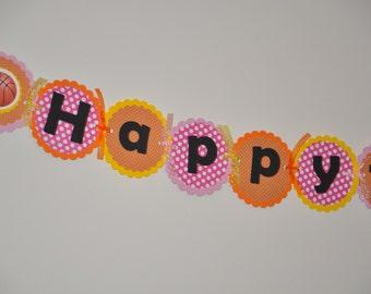 Basketball Banner. Girl Banner. Pink. Orange. Yellow. Polka dots. Bball. Banner. Happy Birthday