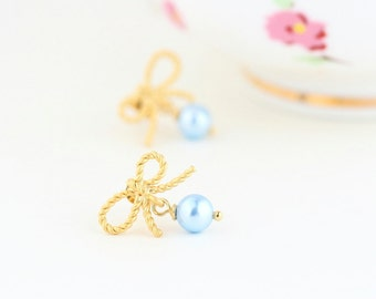 Gold Bow Earrings - Pale Blue Pearl Earrings - Pastel Earrings - Wedding Earrings - Pearl Bow Earrings - Bridesmaids Gifts - Gift For Woman