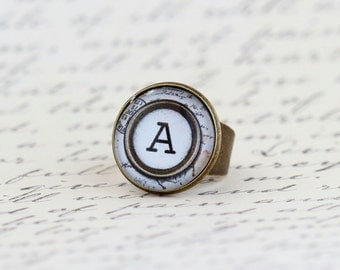 Monogram Ring, Personalized Ring, Statement Ring, Initial Ring, Typewriter Key Ring, Personalized Jewelry, Gift For Woman, Valentines Gift