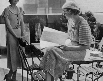 Columbia Miss New York Dress AND Columbia Daytime Linen Dress - TWO Vintage 1930s Knitting Patterns - PDF eBook