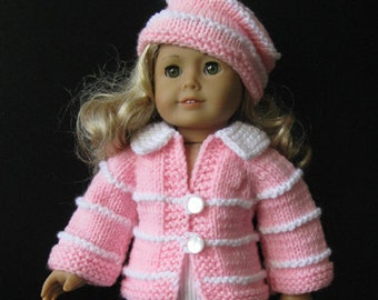 knitting pattern fits AMERICAN GIRL 18 inch Doll BEGINNER level (04)