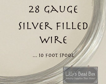 28 Gauge Wire, Thin Sterling Silver FILLED Wire, Ten (10) Feet, Round, Half Hard Wire for Wire Wrapping Gemstones, Beads and Jewelry