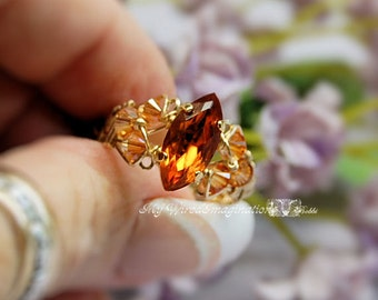 Madeira Topaz Vintage Swarovski Navette-Marquise Hand Crafted Ring Wire Wrapped Original Signature Design Fine Jewelry November Birthstone