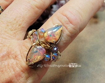 Ready to Ship Ring SALE, SAVE 15%, Pink Opal 1950's West German Vintage Glass Hand Crafted Ring Signature Design October Birthstone