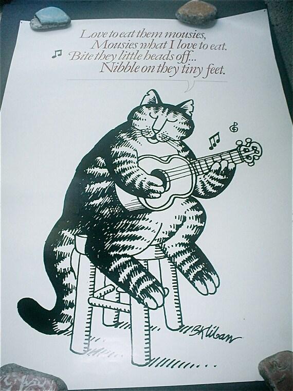 Kliban Cat Love To Eat Them Mousies Print