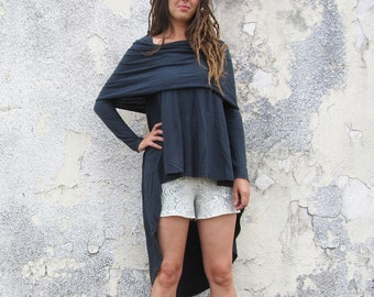 ORGANIC Super Cowl Mullet Shirt (light hemp/organic cotton knit) - organic shirt