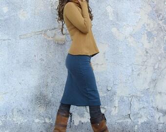 ORGANIC Pencil Below Knee Fleece Skirt - ( hemp and organic cotton knit fleece )- organic hemp fleece skirt