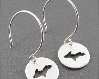 Mini Upper Peninsula Sterling Silver Earrings