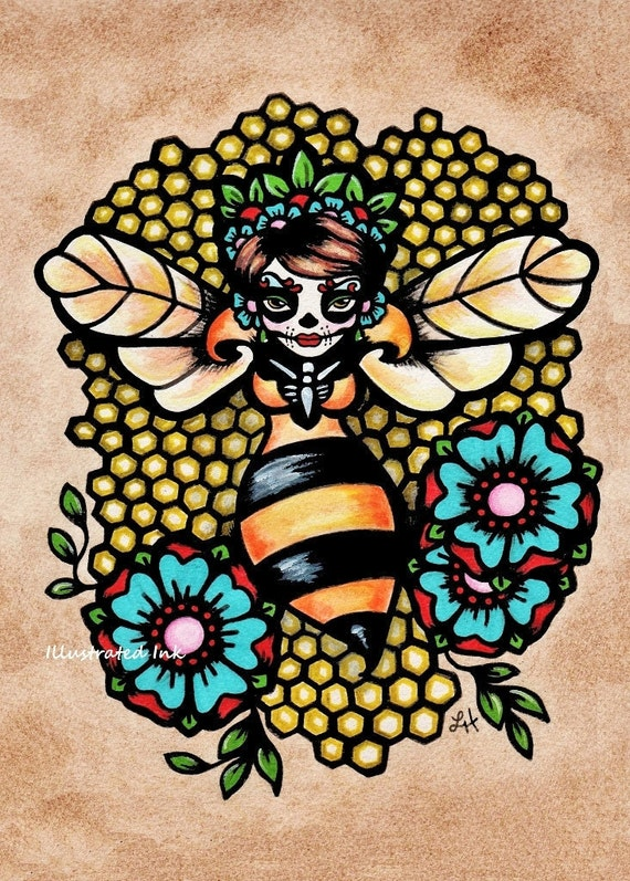 Day of the Dead Art QUEEN BEE Print 5 x 7, 8 x 10 or 11 x 14