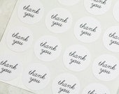 96 Thank You Mini Stickers, Round Mini Stickers, Thank You Stickers, Envelope Seals, Wedding Stickers, Gift Wrapping, White Stickers