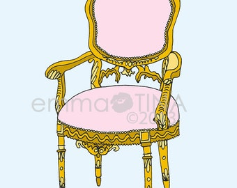 Rococo Pink Arm Chair Decorative Illustration Art Print