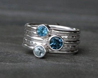 Deep Sea Stacking Rings, London Blue Topaz Swiss Blue Topaz Aquamarine, Sterling Silver, Set of Five, Stackable Rings, Stack, Gemstone Jewel