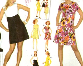 60s mod bridesmaid dress Retro Flared dress with various sleeves sewing pattern Simplicity 3833 Sz 6 to 14 60s Re issue pattern
