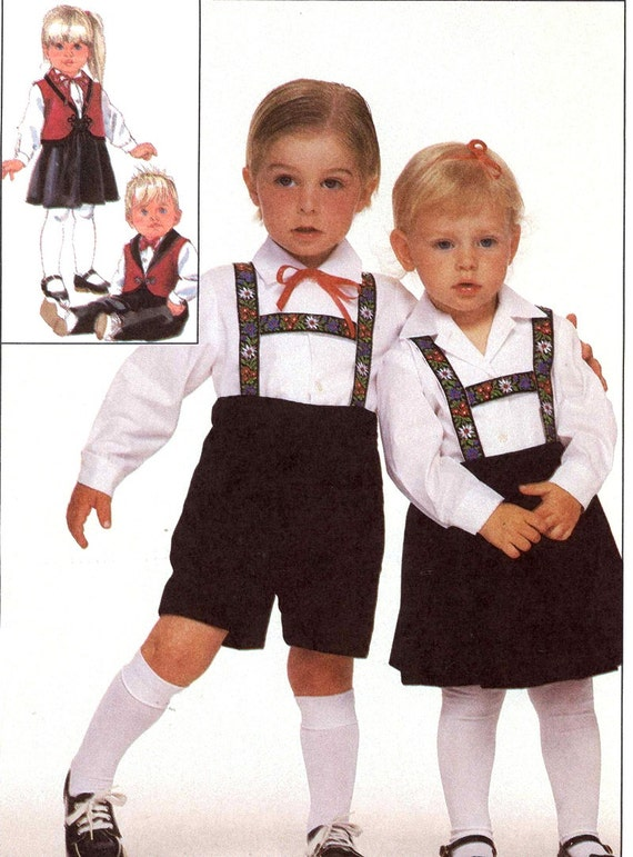 Kids Lederhosen pattern German style Bavarian outfits for a