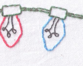 Lights Hand Embroidery Pattern, Festive, String Lights, Holidays, PDF, Christmas, Holidays, Old Fashioned