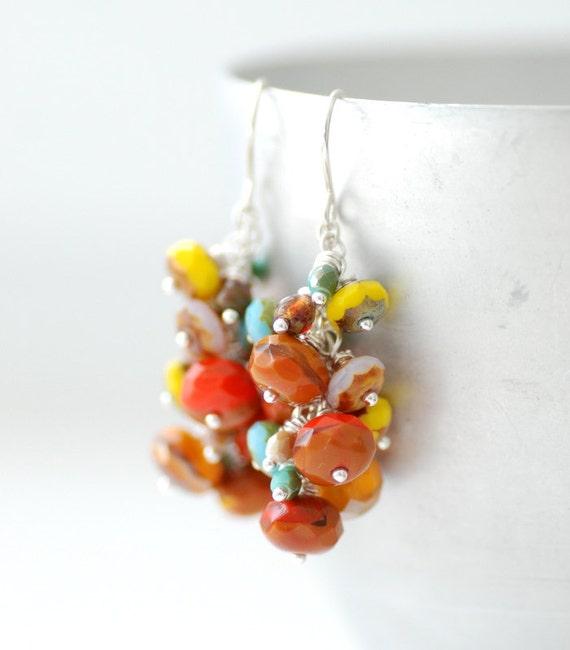 Southwestern Earrings, Terra Cotta, Turquoise, Dangle Earrings, Cluster Earrings, Cowgirl, Western Jewelry - Santa Fe