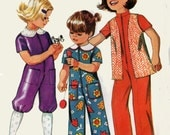 1970s Toddlers Romper or Jumpsuit Simplicity 9685 in two lengths Vintage 70s Sewing Pattern Size 1 UNCUT