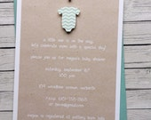 Chevron Onesie Baby Shower Invitations Boy, Handmade Custom Baby Shower Invites