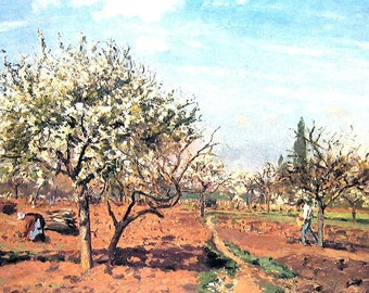 French Impressionist Art - Camille Pissarro - Orchard in Bloom - 1977 Large Poster Sized Print 12 x 15