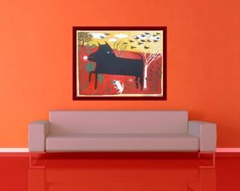 Black Dog Art - Original Large Painting -Dogs and Crows -Red Yellow Green Folk Outsider Animal Artwork Wall Decor -Schipperke Vet Kid's Room