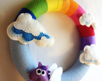 Rainbow Wreath, Pegasus, Felt and Yarn Wreath, Somewhere Over the Rainbow, Pegasus and Clouds - Made to Order