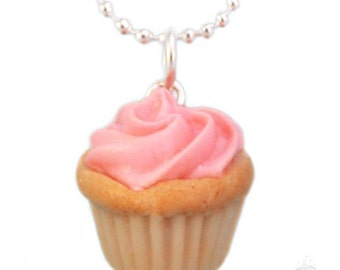 Food Necklace, Scented Pink Cupcake Necklace, Tea Party Necklace, Birthday Gift For Her, Food Jewelry, Valentine's Day Gift, Miniature Food