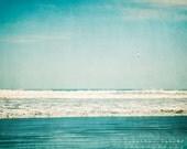 Beach Photography, teal, turquoise, aqua, white, waves, sky, ocean photography, beach decor, landscape photography - Seagulls Playground