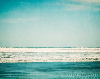 Beach Photograph, teal, turquoise, white, waves, ocean photography, beach decor, landscape photography - Seagulls Playground