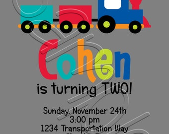 Printable Transportation Birthday Party Invitation and Door Sign