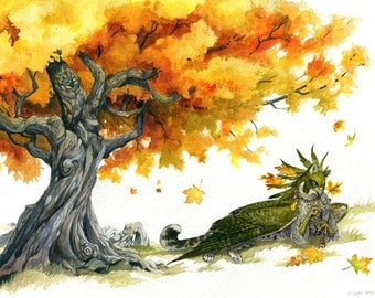 Autumn Love - Fantasy Gryphon Under a Fall Tree - Print
