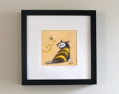 Bumble Bee Kitty - original painting - framed - black tuxedo cat - bumble bee - wearing costume - yellow background
