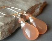 Reserved for Denise Peach Moonstone Earrings, Sterling Silver Gemstone Earrings, Peach Earrings, Wirewrapped Gemstone Dangle Briolette