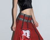 Bloody Zombie Poodle Skirt with Dangling Eye Small