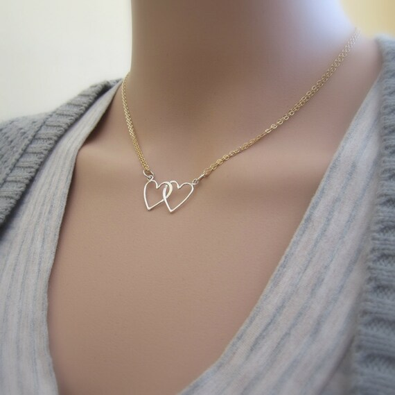 Intertwined hearts necklace two hearts love necklace silver