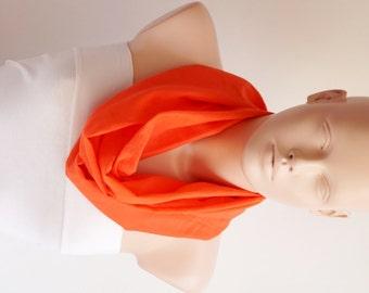 SALE-Infinity Scarf. Loop Scarf ..Cotton ... Orange Scarf