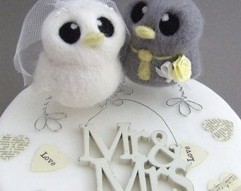 Love Birds Wedding Cake Topper Grey and Yellow Wedding Bride and Groom Needle Felted Birds