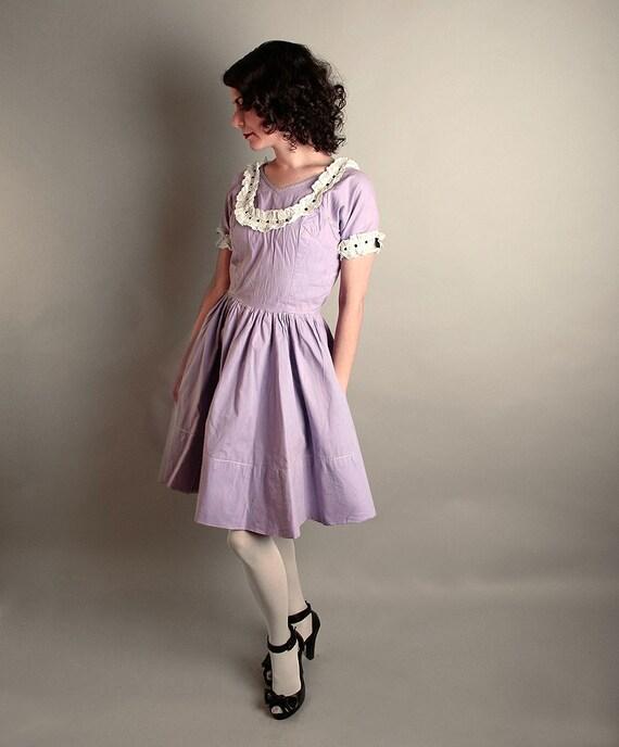 Vintage Lavender Dress Mini Eyelet Dolly Dress - Small Fashion