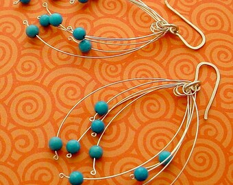Turquoise & Silver Fireworks Earrings, free shipping